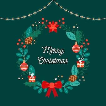 Венок и рождественские приветствия в плоском дизайне