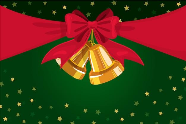 クリスマスのリボンと鐘の背景