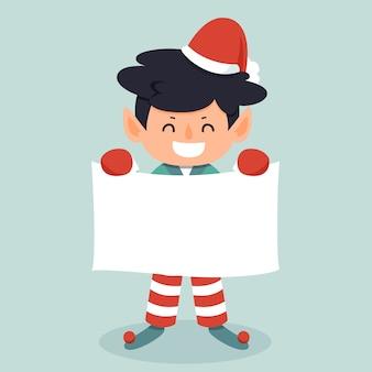 白紙の横断幕を持って笑顔のクリスマスキャラクター