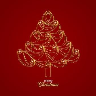抽象的なゴールデンクリスマスツリーの概念