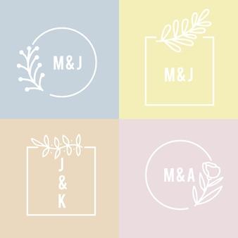 Красочные минималистичные свадебные монограммы в пастельных тонах