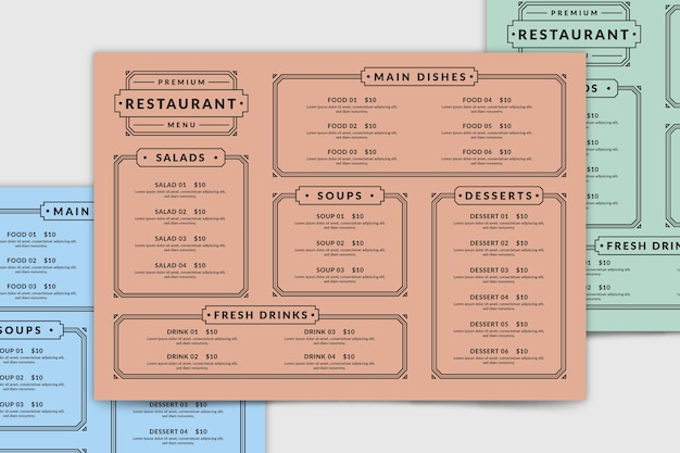 Шаблон меню ресторана сверху
