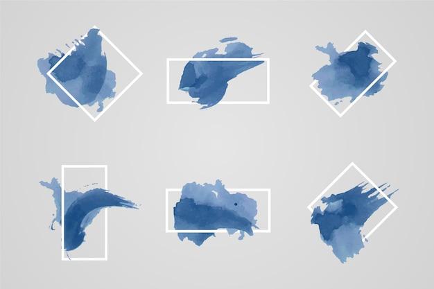 水彩の汚れと幾何学的な白いフレーム