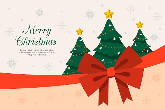 クリスマスツリーとリボンの背景