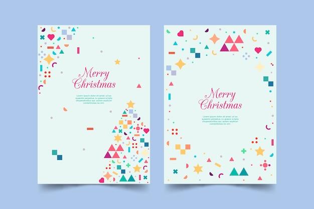 カラフルな幾何学図形をクリスマステンプレート