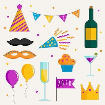 フラットなデザインの新年パーティー要素コレクション