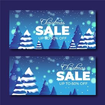 Реалистичные рождественские продажи баннеров