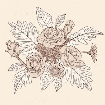 現実的な手描きのヴィンテージの花の花束