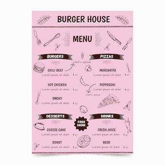 ハンバーガーテンプレート付きのレストランメニュー