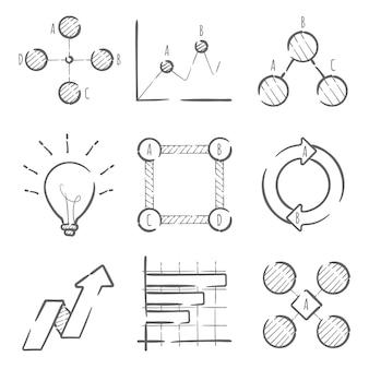 Ручной обращается инфографики элементы коллекции