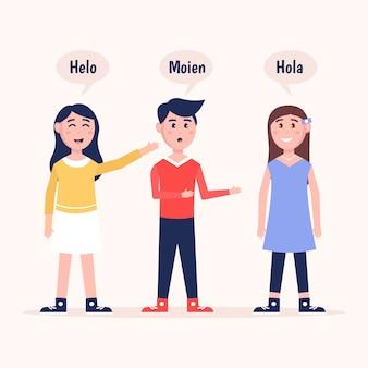 さまざまな言語のコレクションで話しているイラスト若者