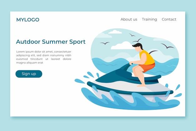 Плоский дизайн шаблона спортивной целевой страницы