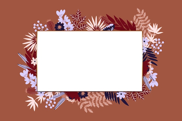 Зимние цветы с пустым баннером