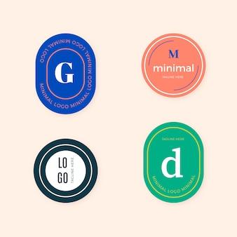 レトロなスタイルのカラフルな最小限のロゴパック