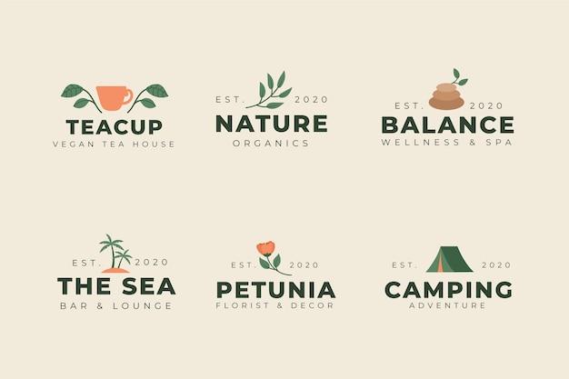 ビンテージスタイルのカラフルな最小限のロゴパック