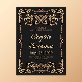 レトロな結婚式テンプレート招待状