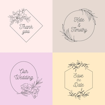 パステルカラーセットのシンプルな結婚式モノグラム