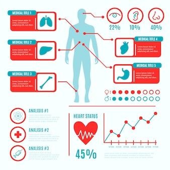 Набор красочных медицинских инфографики