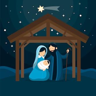 フラットなデザインのキリスト降誕のシーンイラスト