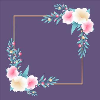 Золотая рамка с зимними цветами