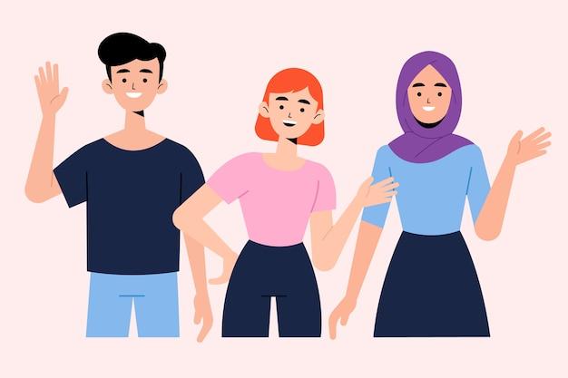 Молодые люди машут рукой набор иллюстраций