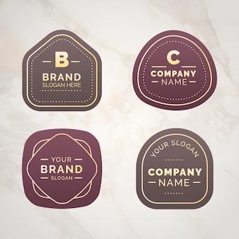 Коллекция логотипов на мраморном фоне шаблона