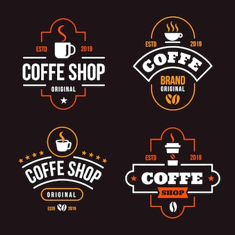 コーヒーショップレトロなロゴコレクション