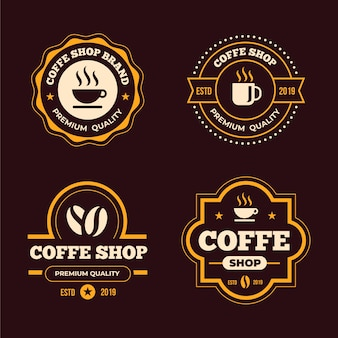 コーヒーショップレトロなロゴコレクションコンセプト