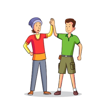 Женщина и мужчина дают высокие пять