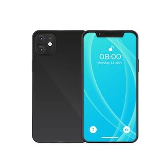 Реалистичный черный дизайн смартфона