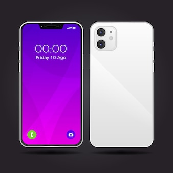 Реалистичный белый дизайн смартфона с двумя камерами