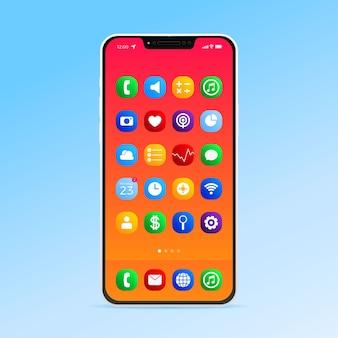 Реалистичный дисплей смартфона с различными приложениями