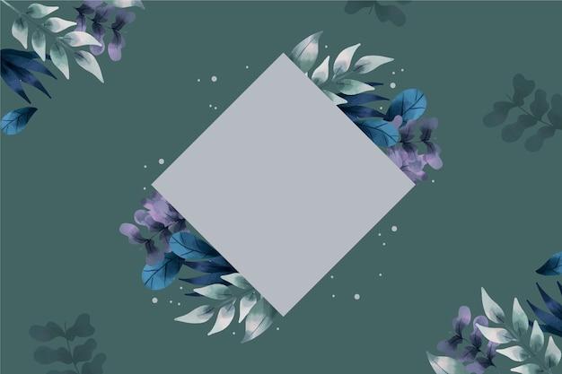 空のバッジと冬の花の背景