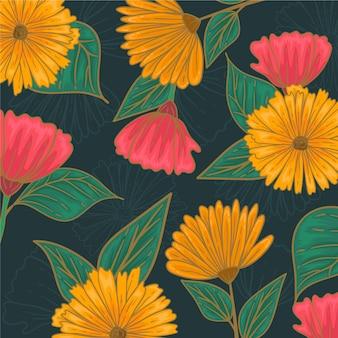 カラフルな花柄の図面