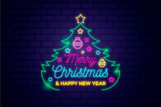 ネオンデザインのメリークリスマスコンセプト