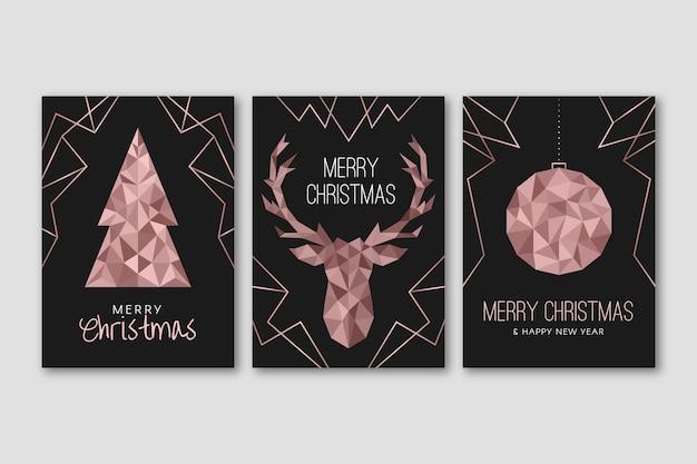 Рождественский постер шаблон в полигональном стиле