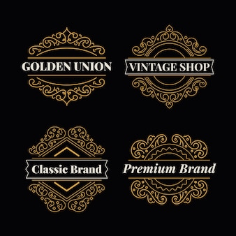 黄金のレトロなレストランのロゴコレクションテンプレート