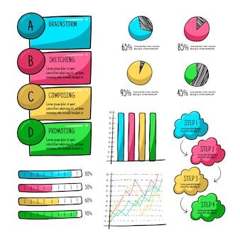 インフォグラフィックの手描きの要素