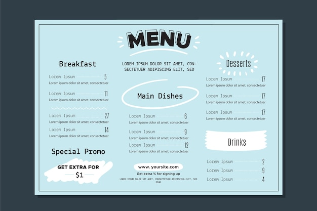 Шаблон меню ресторана с красочным стилем