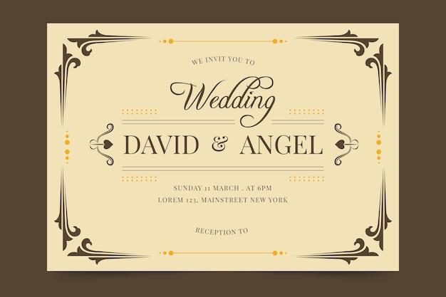 結婚式の招待状のテンプレートのレトロなスタイル