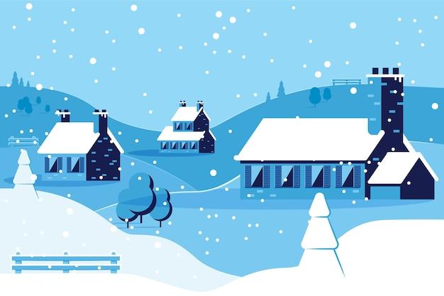 Зимний фон в плоском дизайне