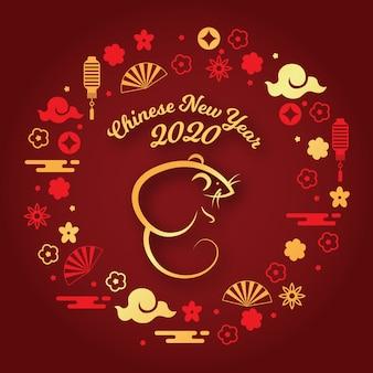 フラットなデザインの中国の新年のコンセプト