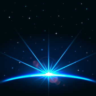 光沢のある地球の日の出の光の効果