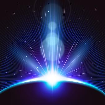 明るい地球の日の出の光の効果