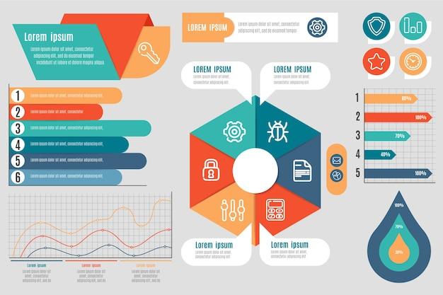 フラットなデザインのインフォグラフィック要素