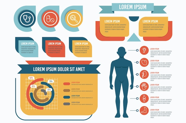 Инфографики плоские элементы дизайна