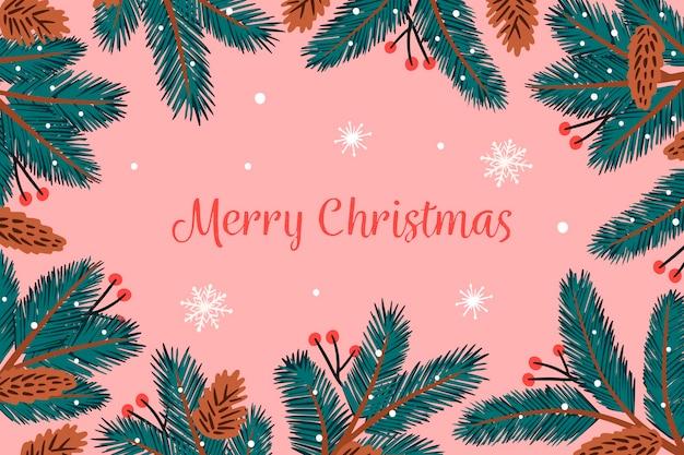 背景の手描きのクリスマスツリーの枝