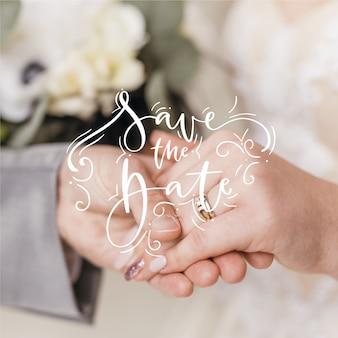 美しい結婚式は写真で日付を保存します