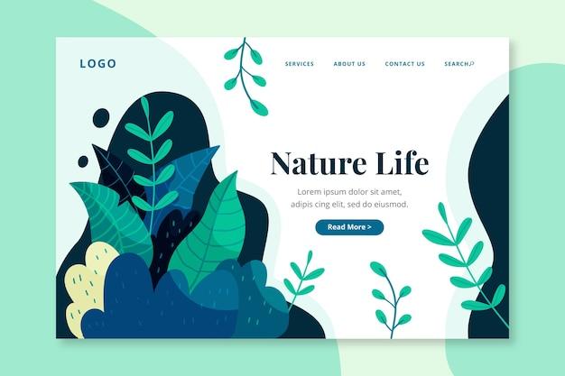 自然の手描きのランディングページ