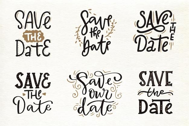 日付の結婚式のレタリングを保存のコレクション